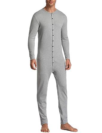 Lusofie Mens Thermal Underwear Union Suit Base Layer Henley Adult Onesie  (Grey 1ff27dea8