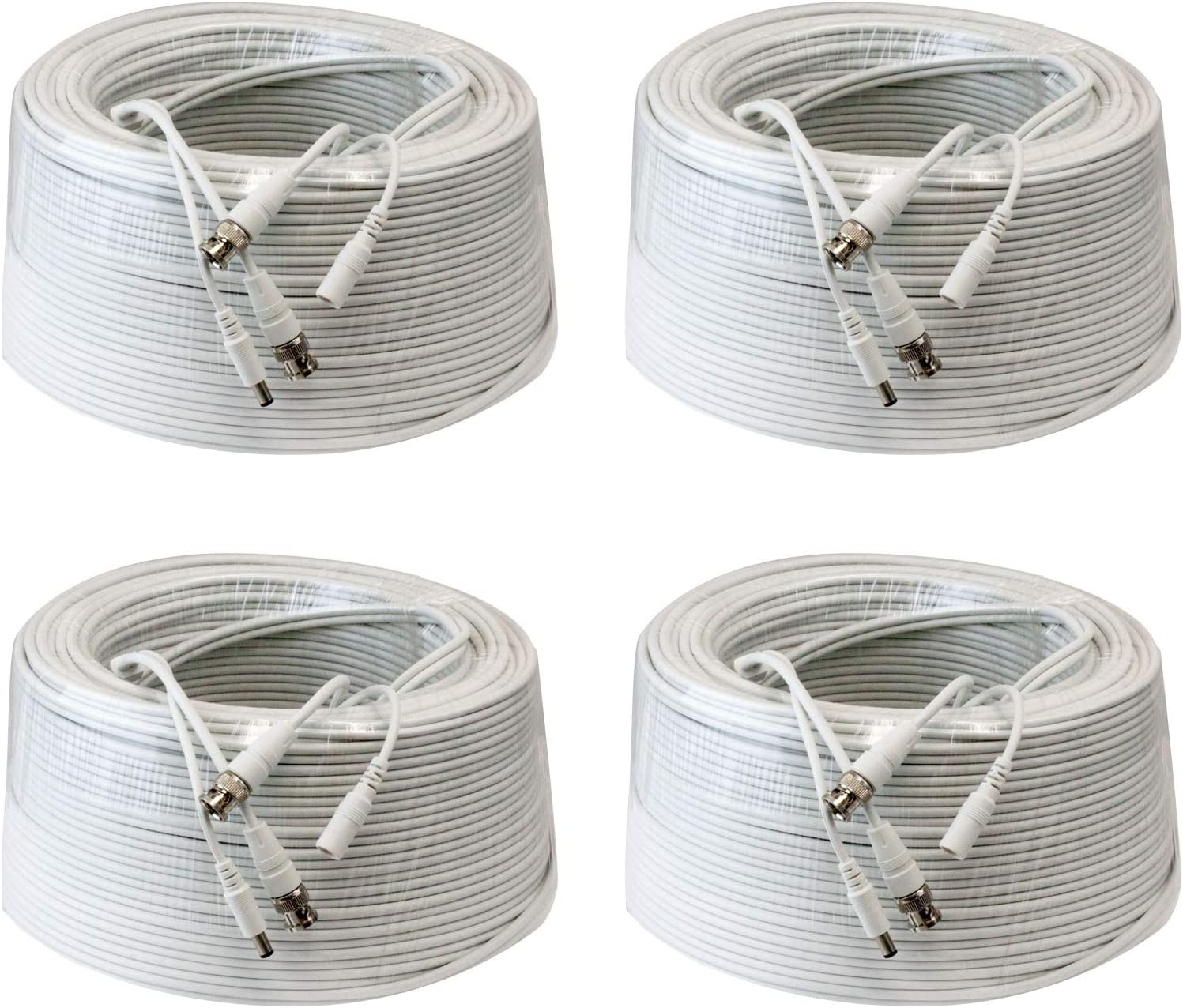 4 Pack 200Ft Rg59 Siamese Combo 20Awg Power Video Coaxial Cable Bnc 75Ohm 95% Braid Wire Cord For Hd-Sdi, Ahd, Tvi, Cvi All Cctv Security Cameras With Bnc Connector And 2.1Mm Power Jack (White)