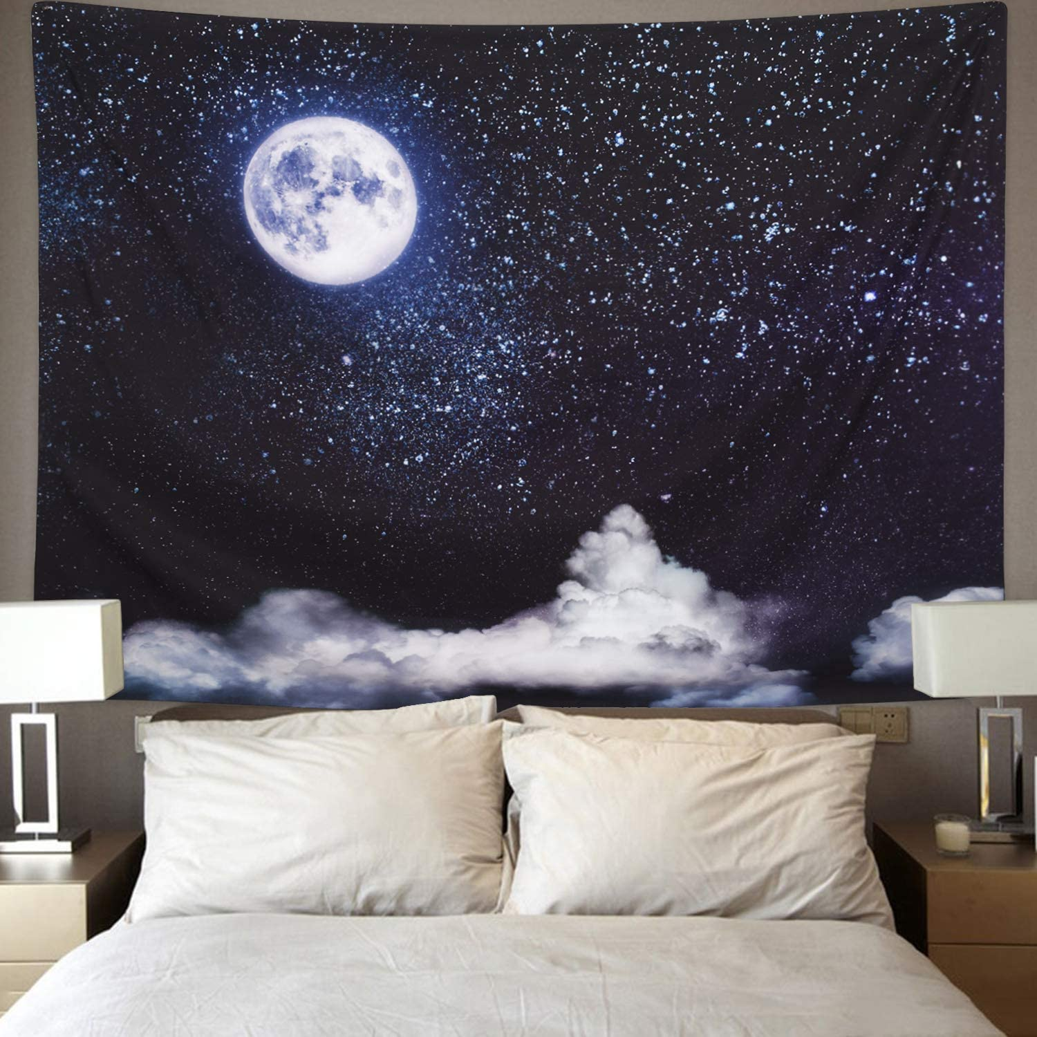 BLEUM CADE Moon and Clouds Tapestry Wall Hanging Star Tapestry Starry Sky Tapestry for Living Room Bedroom Dorm Home Decor