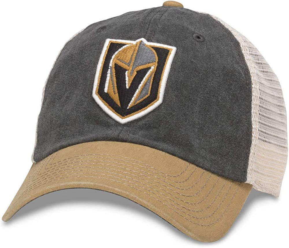 43352A-VGK Ivory//Black//Gold American Needle Hanover NHL Team Mesh Hat Las Vegas Knights