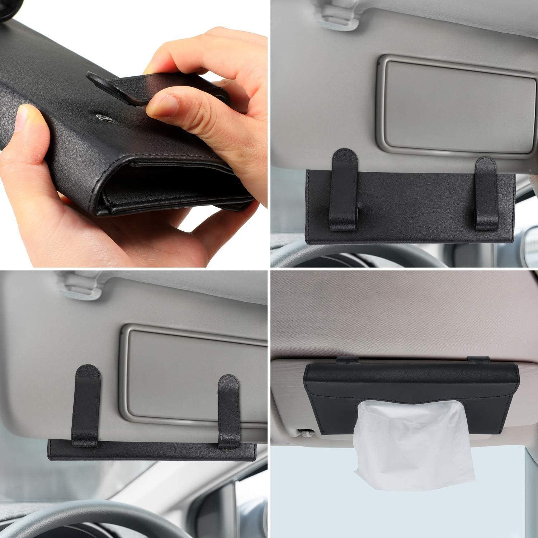 Hamanee Visor Mask Holder for Car Sun Visor Napkin Case Refillable Face Mask Case for Car//Truck Back Seat Pocket Visor Tissue Box Black