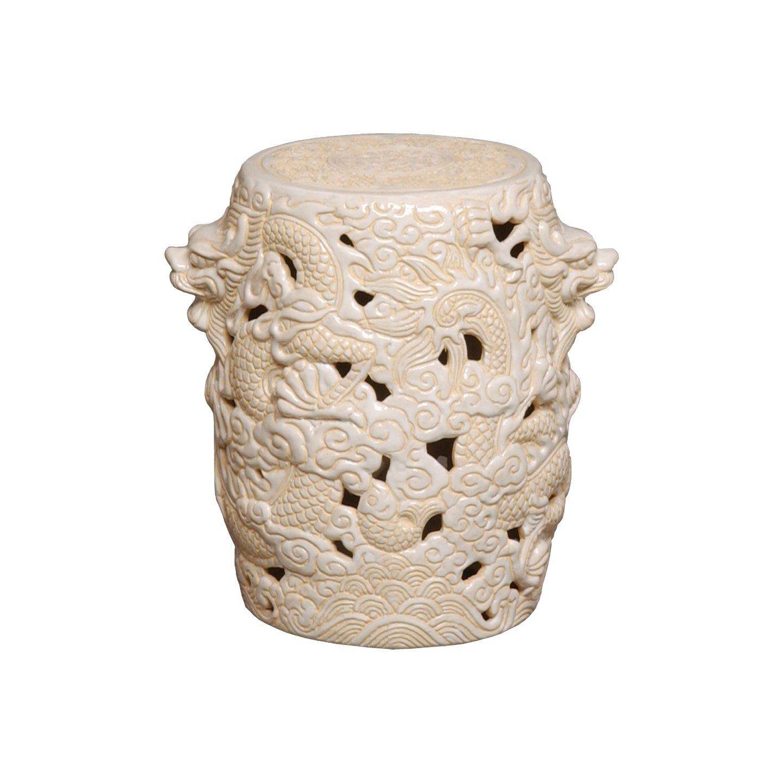Emissary 1202CM Dragon Ceramic Stool, 12 by 15-Inch, Cream