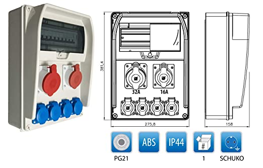 Baustromverteiler  Wandverteiler Verteiler 1 x 230V 16A /& 1 x CEE 16A verdrahtet