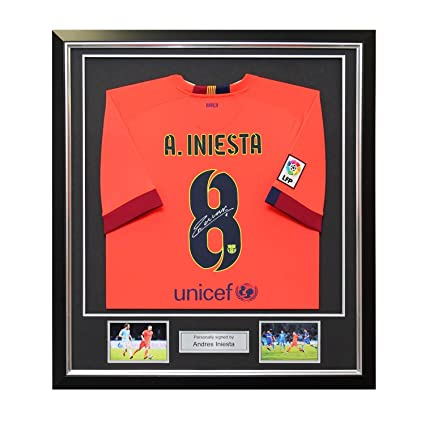 97922630eb0 Andres Iniesta Signed 2014-15 Barcelona Away Jersey In Deluxe Black ...
