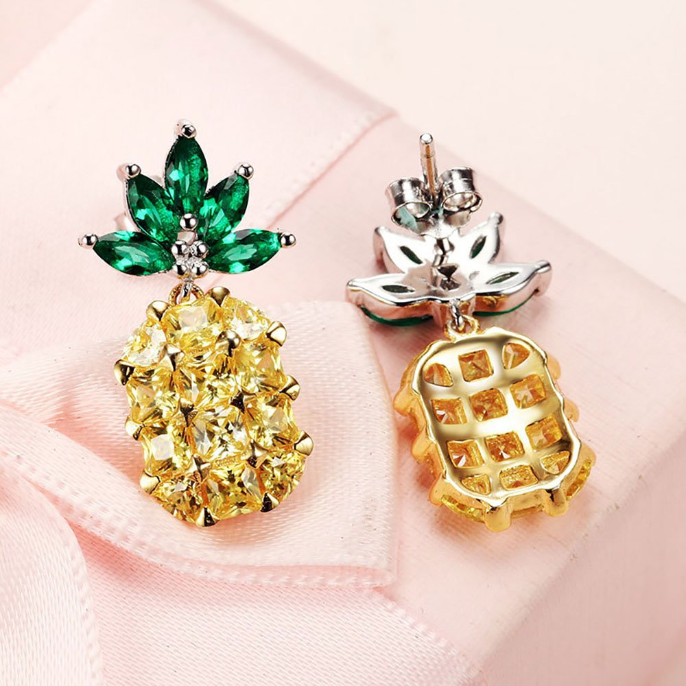 Pineapple Yellow and Green CZ Earrings Ginger Lyne Collection