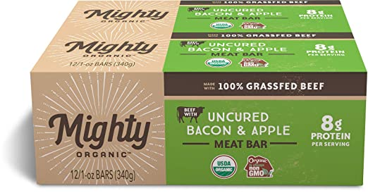 amazon com 100 organic grass fed beef bar gluten free snack uncured bacon and apple mighty organic 1 oz pack of 12 grocery gourmet food