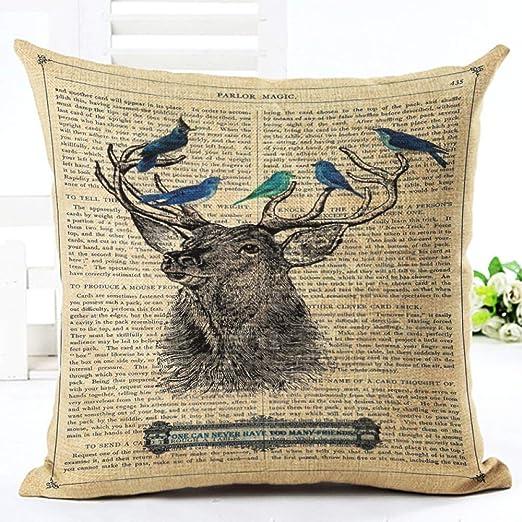 YIWAN Elk pájaro Mariposa Almohada cojín Funda de Almohada ...