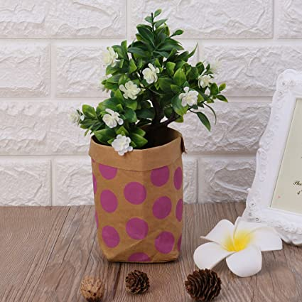 Amazon shaoge washable kraft paper bag plant flowers pots shaoge washable kraft paper bag plant flowers pots multifunction storage pouch for office home window decor mightylinksfo