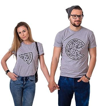 Pärchen T-Shirt Set Partner Look Shirt Pizza Couple Oberteile Bluse Partner Top  Damen Herren e8ed3994f2