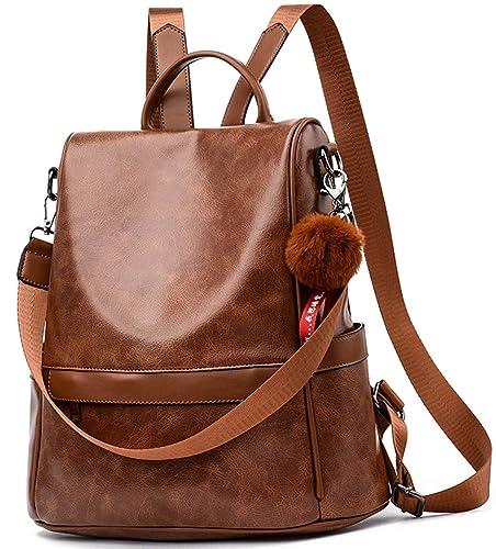 ce8d755025660 Damen Soft PU Leder Rucksack Handtasche Schultertasche All in One  Multifunktions Anti Diebstahl Tasche Wasserdichte Rucksack
