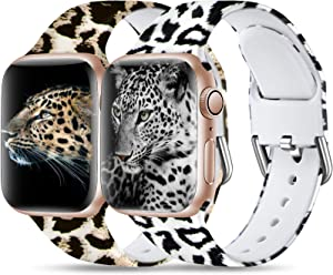 Dirrelo Compatible for Apple Watch Bands 44mm 42mm iWatch SE & Series 6 & Series 5 4 3 2 1 Silicone Pattern Printed Band Strap for Women Men Wristband, S/M 2-Pack Leopard & Snow Leopard