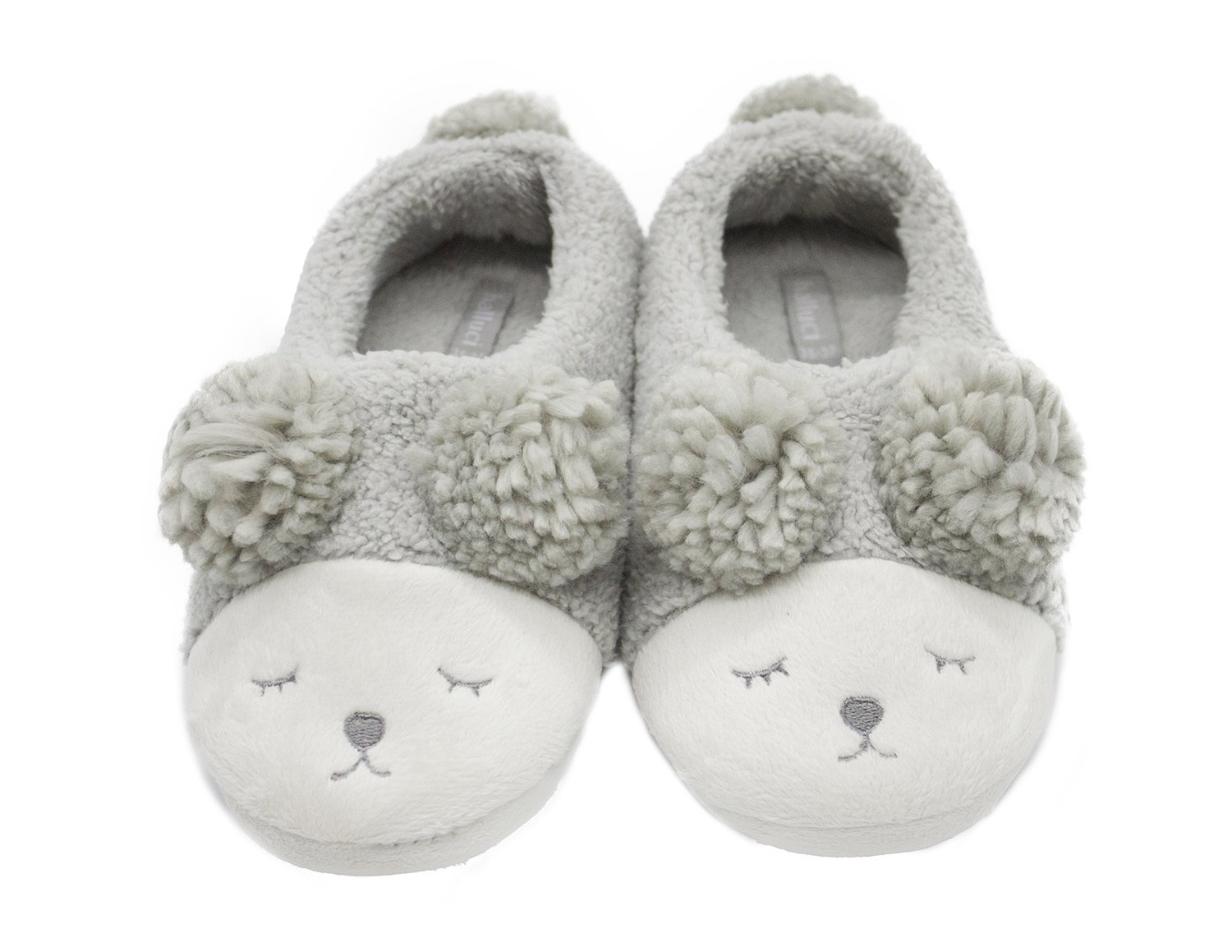 T-Dream Women Sheep Warm Cozy Plush Soft Indoor Slippers Outdoor Couples House Booties 38-39 Low-top Grey