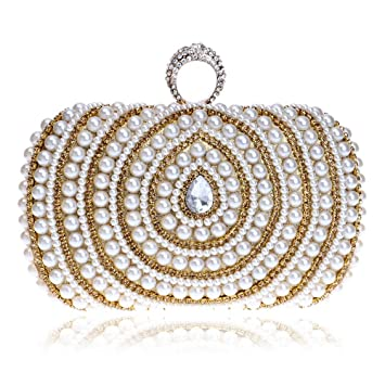 GSCshoe Bolso de Embrague Bolsos Cuadrados para Mujer Bolso de Noche de Perlas Bolsos de Monedero