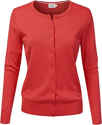 NINEXIS Women's Long Sleeve Button Down Soft Knit Cardigan Sweater DARKCORAL 1XL