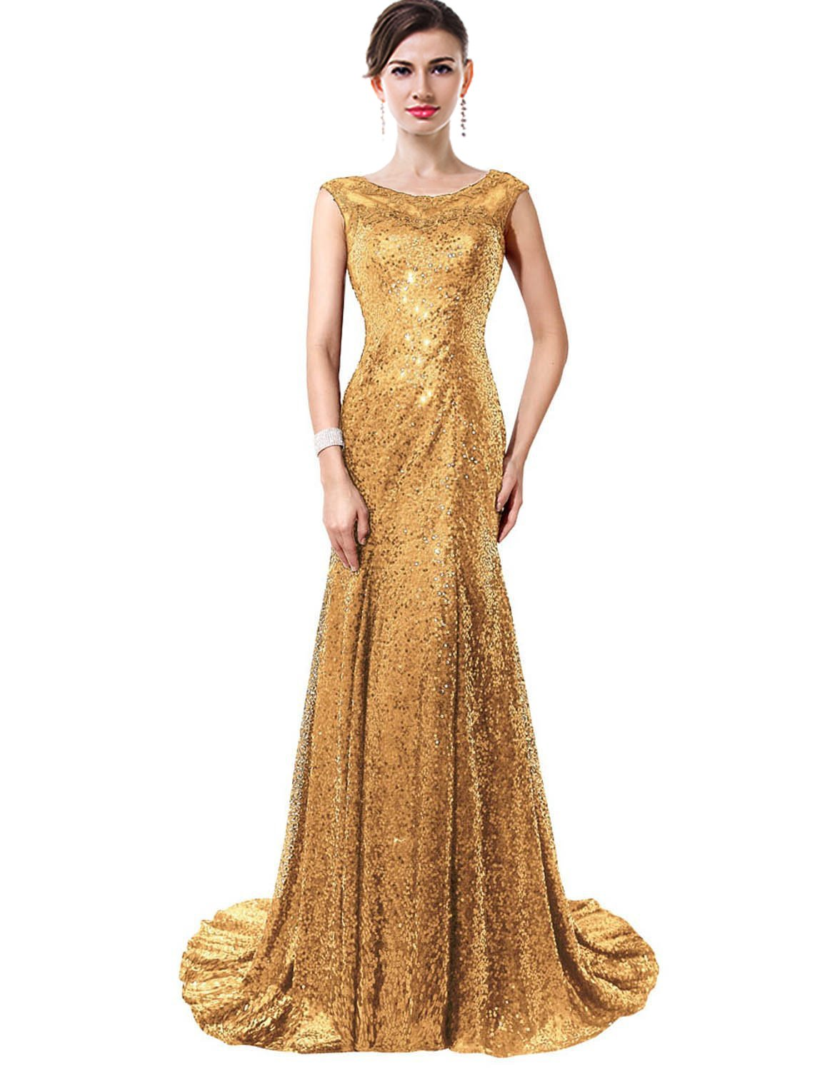 ThaliaDress Sequin Glitter Formal Evening Prom Gown Wedding Party Dress T027LF Gold US18W
