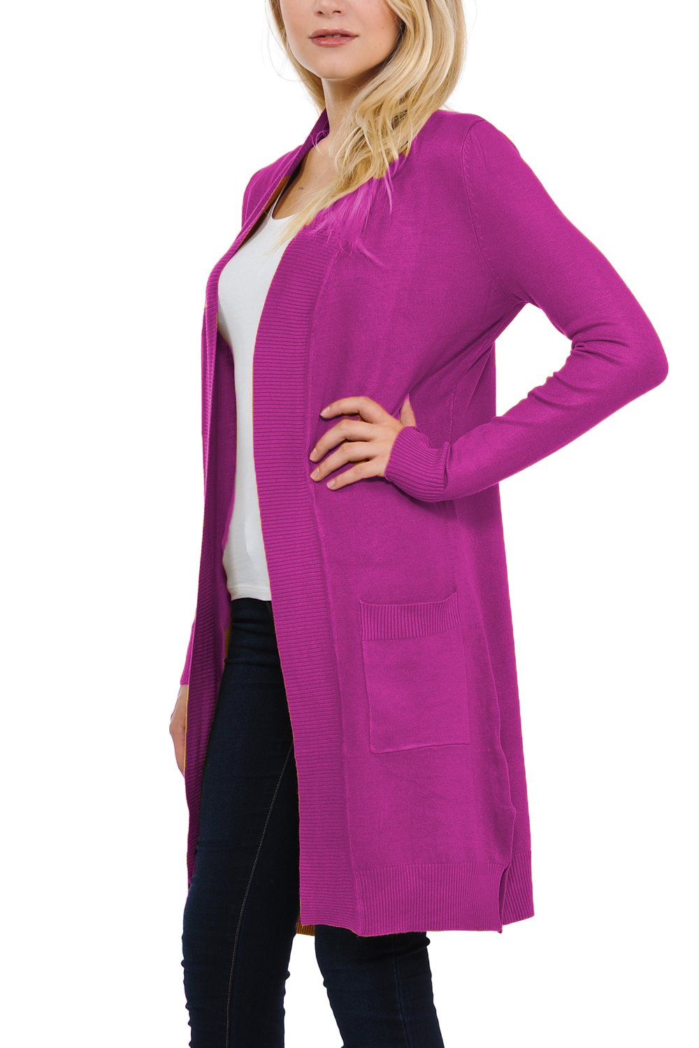 JNTOP Women's Long Sleeve Pocket Open Front Knit Cardigan Magenta Medium by JNTOP (Image #3)