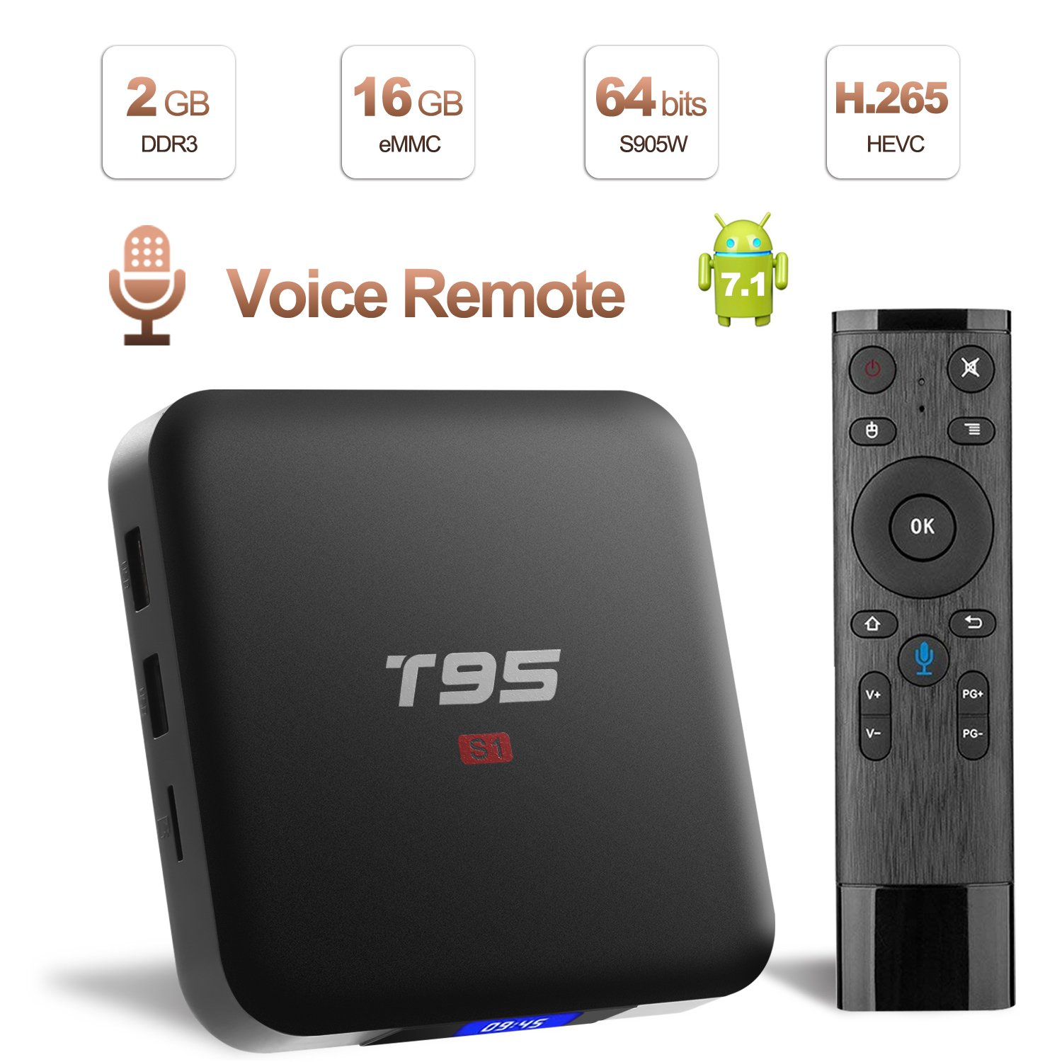 Android TV Box with Voice Remote, LIVEBOX S1 Android 7.1 TV Box 2GB RAM 16GB ROM Amlogic S905W Octa core Cortex-A53 CPU 64 Bits and Support WiFi 2.4GHz/4K (60Hz)/H.265 LIVEBOX-S1