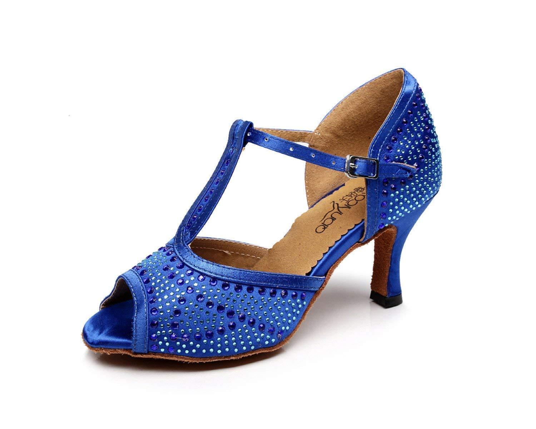Yingsssq Damen Tanzschuhe Latin T-Strap Tanzschuhe Salsa Tango Chacha Samba Modern Jazz Dance Sandalen High Heels Blau-Absatz7.5cm-UK5.5   EU38   Our39