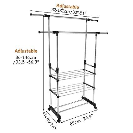 3 Tier doble barra perchero, altura ajustable acero ...