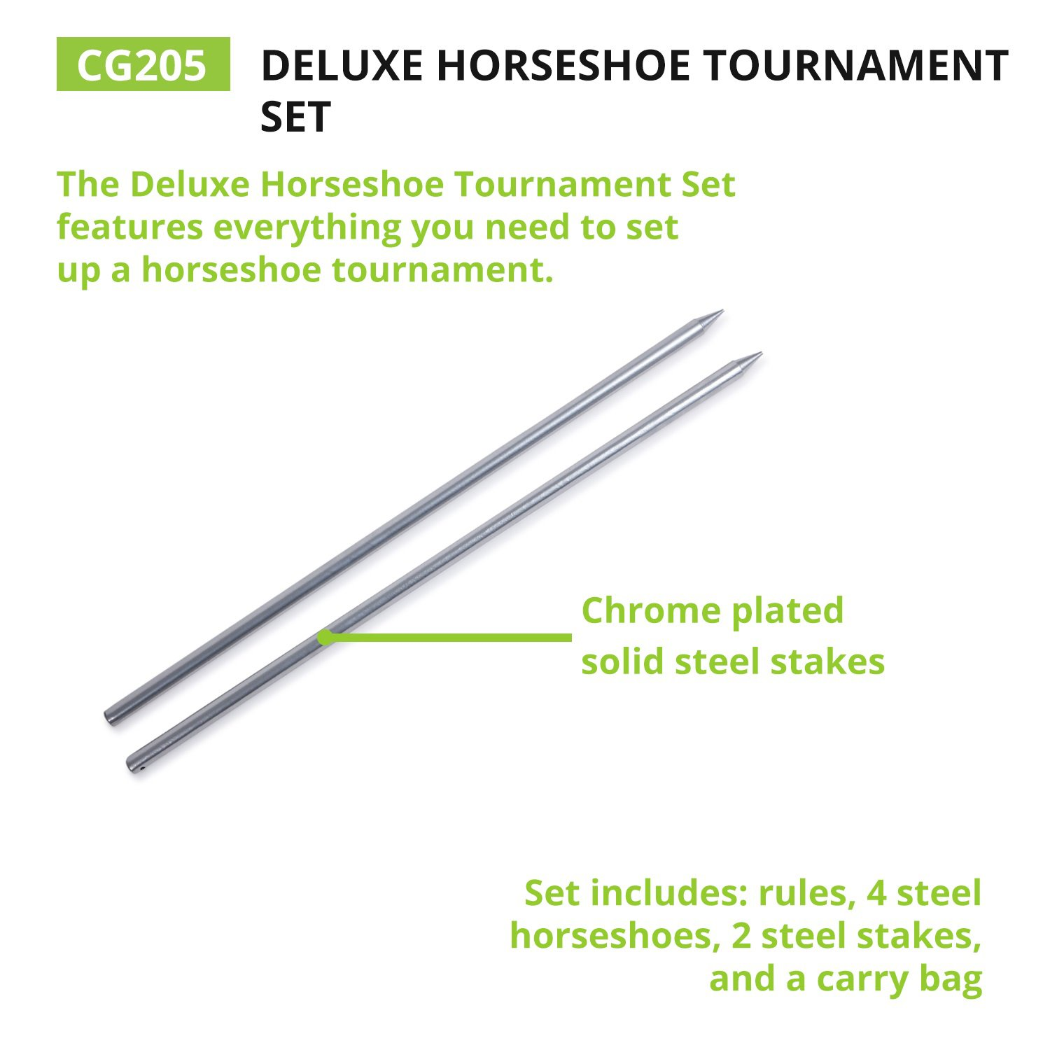Traditional Outdoor Lawn Game includes Four Professional Solid Steel Horseshoes with Solid Steel Stakes /& Carrying Storage Case IHS100 Champion Sports Horseshoe Set