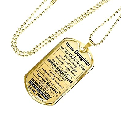 Amazon.com: To My Daughter Love Mom Dog Tag Military ...