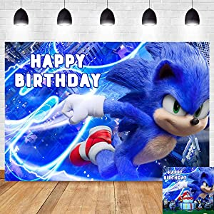 Blue Sonic Hedgehog Happy Birthday Themed Photography Backdrop 5x3ft Sonic Boom Superhero Kids 1st Birthday Party Photo Background Baby Shower Decor Backdrops Cake Table Banner Studio Booth