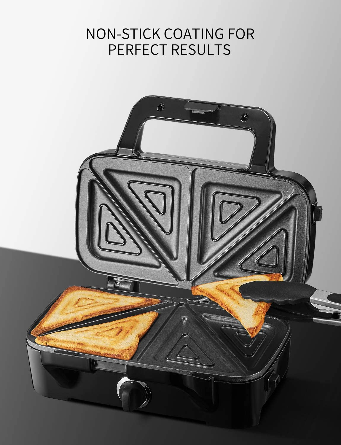 TIBEK Sandwich Maker Black Sandwich Grill 1200-Watts Cool Touch Handle 3-in-1 Detachable Non-stick Coating Easy to Clean LED Indicator Lights 5-Gears Temperature Control Waffle Maker