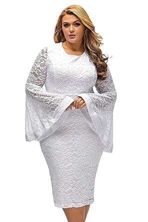 Women Plus Size White Lace Dress Formal Floral Bell Sleeve Cocktail