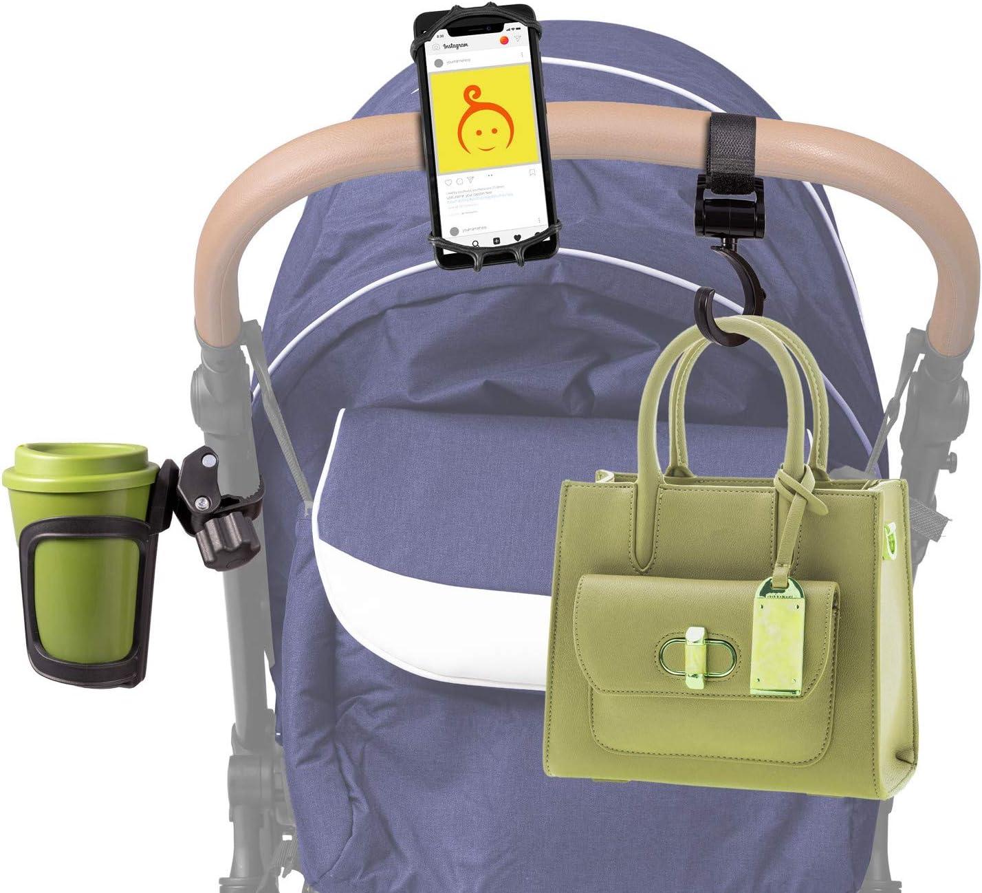 Bottle//Cup Holder Stroller Hooks Box Mobile Holder Buggy Bag Hooks Kit-Cupholder Phone Holder Universal PRAM Accessories Pack for New Parents