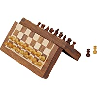 SouvNear Juego de ajedrez magnético de 19 cm con Tabla Plegable, Juego de ajedrez portátil Hecho a Mano en Madera de Palisandro Fina con Almacenamiento para los Amantes