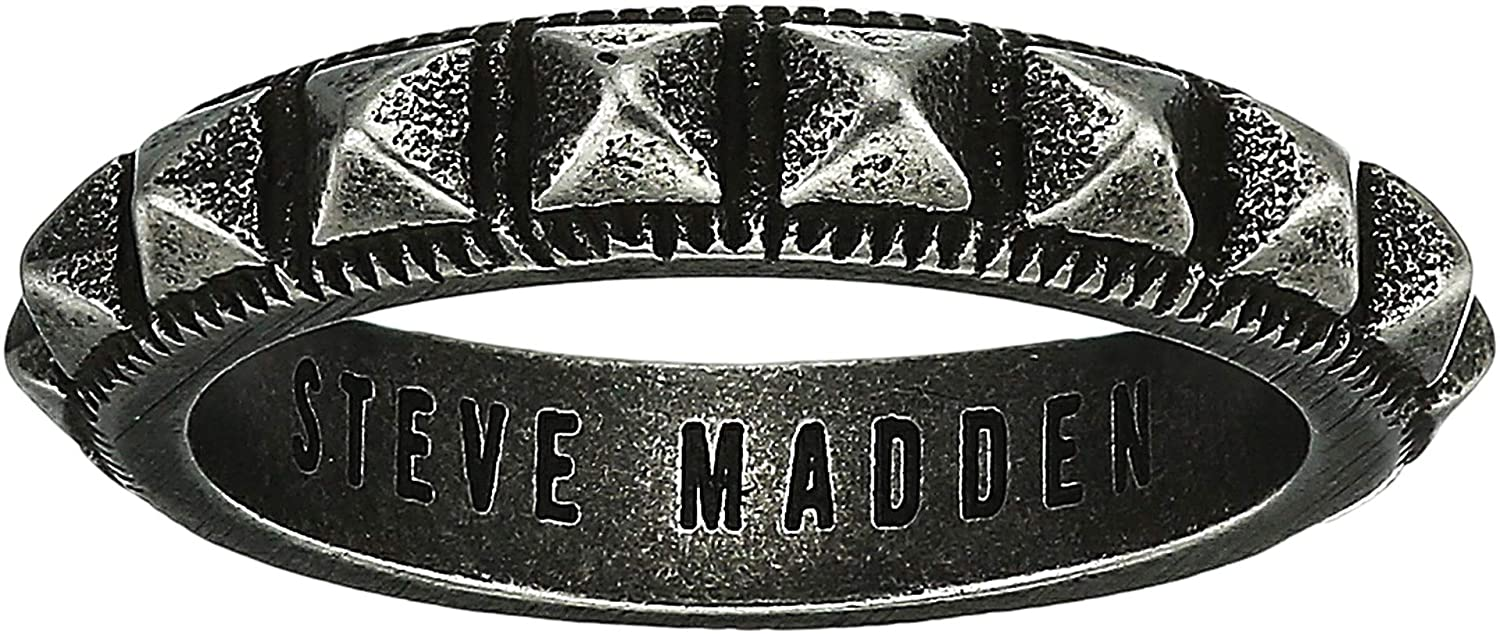 Steve Madden Mens Hammered Cross Over Band Ring in Oxidized Stainless Steel
