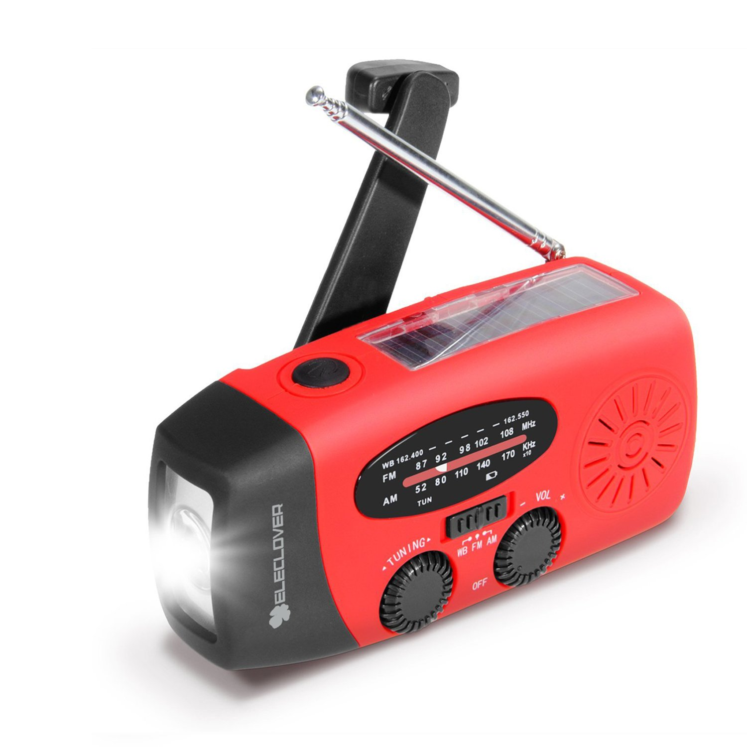 [Upgraded Version] ELECLOVER Portable Dynamo Emergency Solar Crank AM/FM/NOAA(WB) Weather Radio with LED Flashlight, Cell Phone Portable Charger, Red by ELECLOVER
