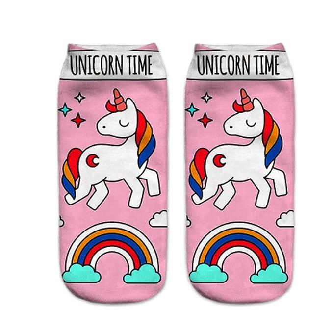 kakakooo Calcetines de la mujer con dibujos de colores escotados No Show Calcetines Calcetines unicornio chicas Cut causales calcetines de algodón para ...
