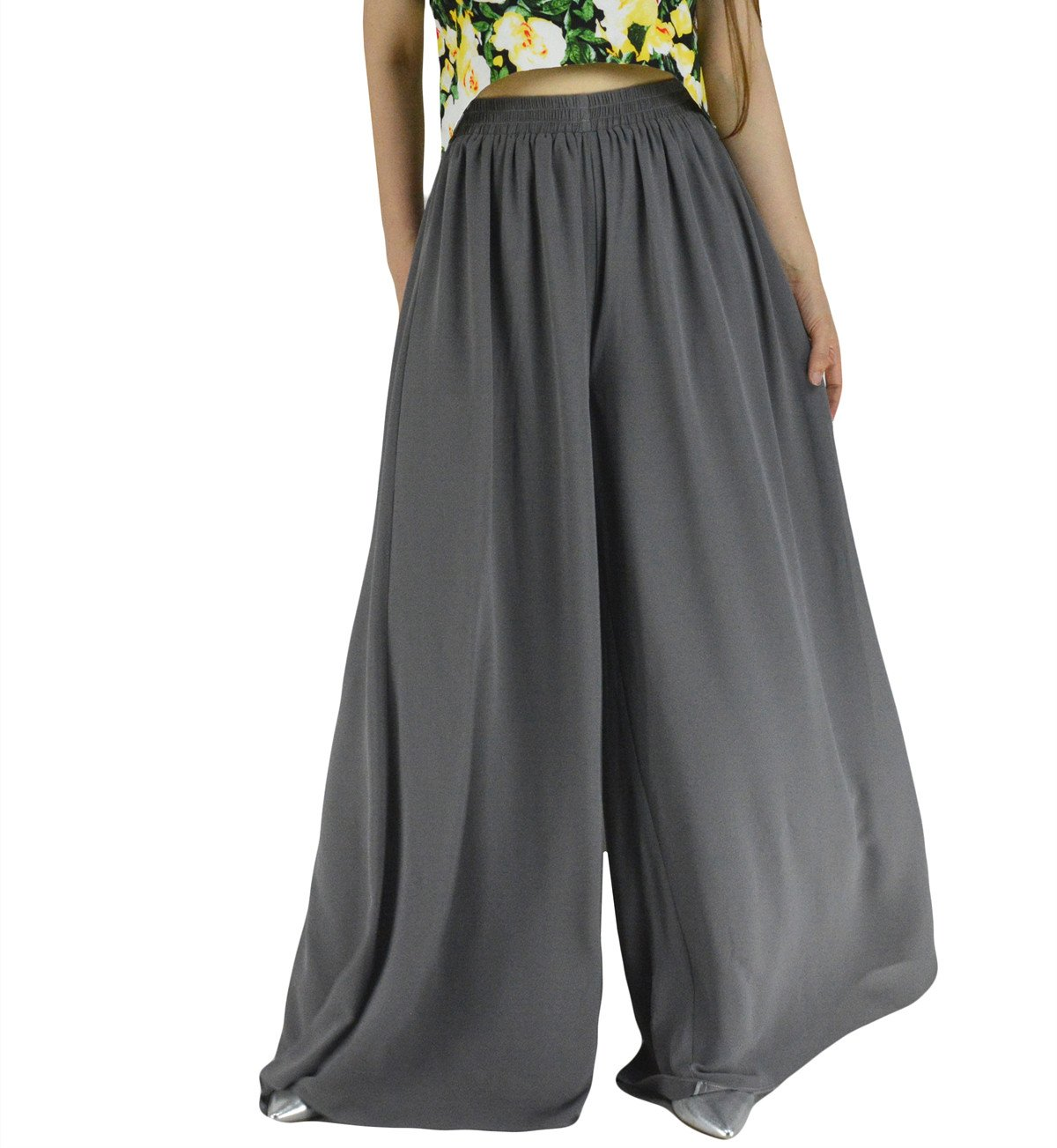 YSJ Women's Chiffon Long Palazzo Pants Solid Culottes Trousers 1216