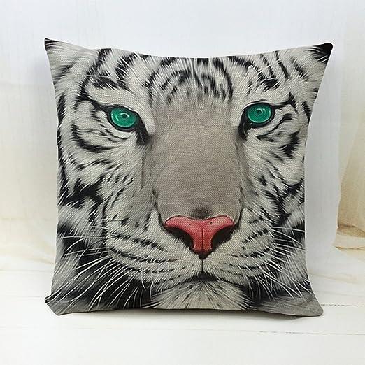 Fundas de almohada de dibujos animados tigre algodón lino cuadrado manta funda de almohada cojín funda de almohada Funda de cojín decorativo para ...