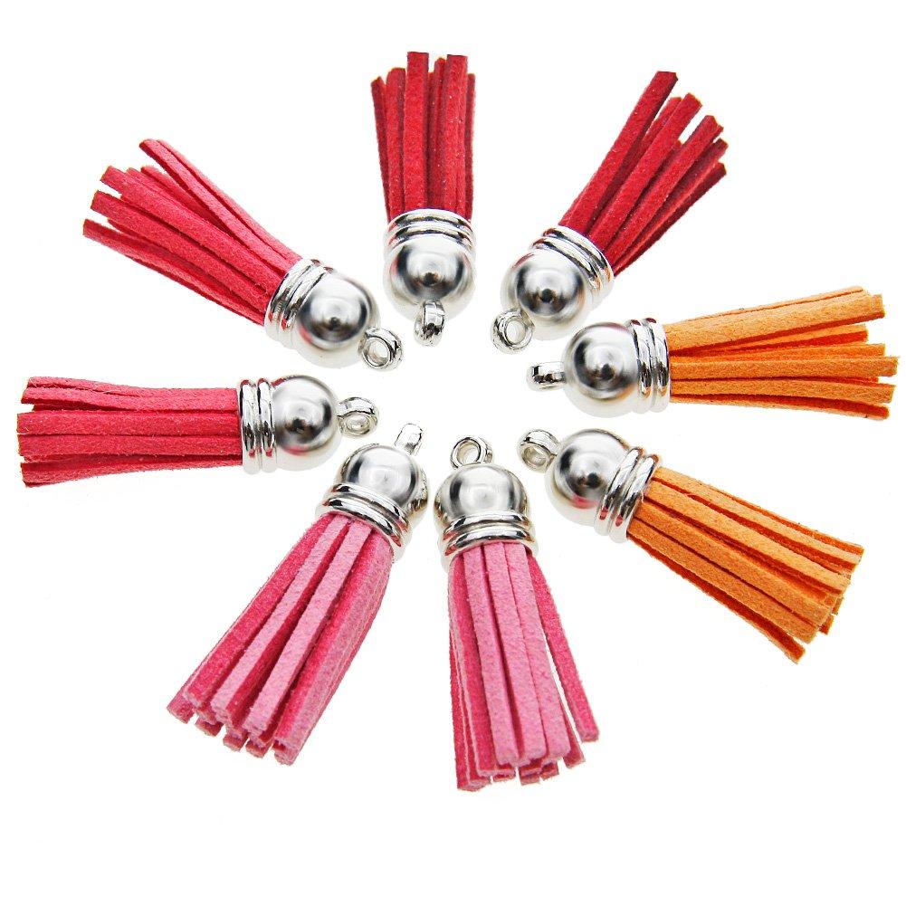 Juanya 100 piezas 50 colores 40 mm piel de ante sint/ética borla colgantes con tapas para clave cadena correas DIY accesorios