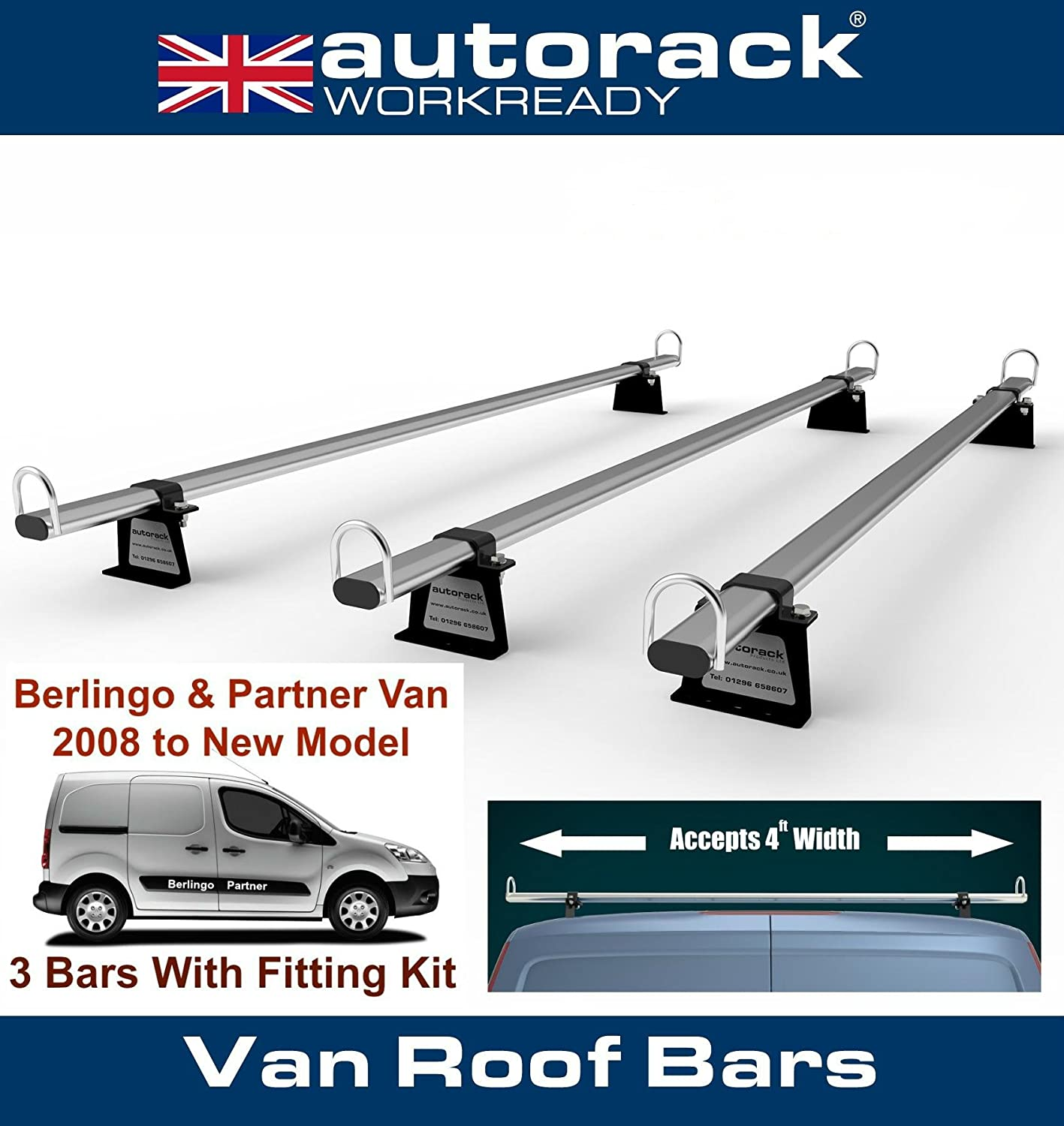 Autorack WorkReady Van Roof Rack Bars for - PEUGEOT PARTNER (2009-to-NEW Model Range) - 3 BARS Autorack Products