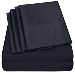 Cal King Size Bed Sheets - 6 Piece 1500 Thread Count Fine Brushed Microfiber Deep Pocket California King Sheet Set Bedding - 2 Extra Pillow Cases, Great Value, California King, Navy