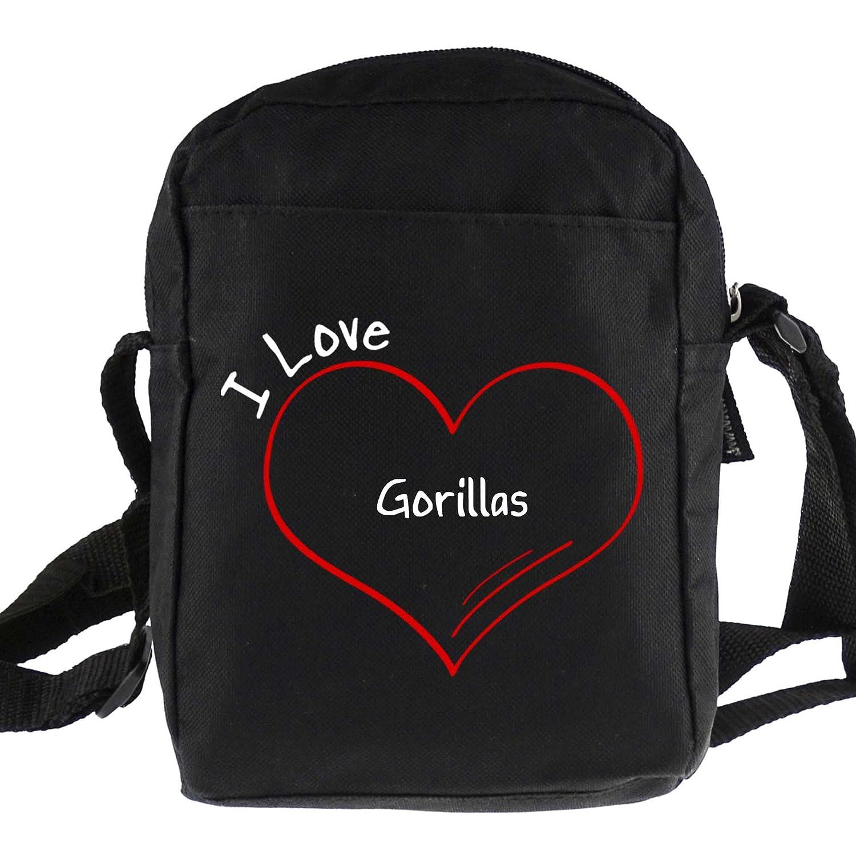 Modern I Love Gorillas Black Shoulder Bag