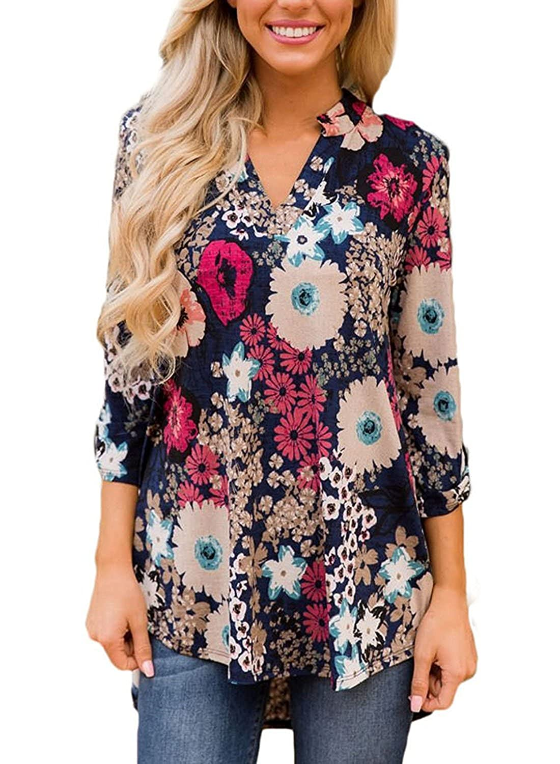 6e7b33b7358 TrendiMax Women Casual Split V Neck Loose Cuffed 3 4 Sleeve Floral Print  Tunic Top Blouses (9 Floral Pattern) at Amazon Women's Clothing store: