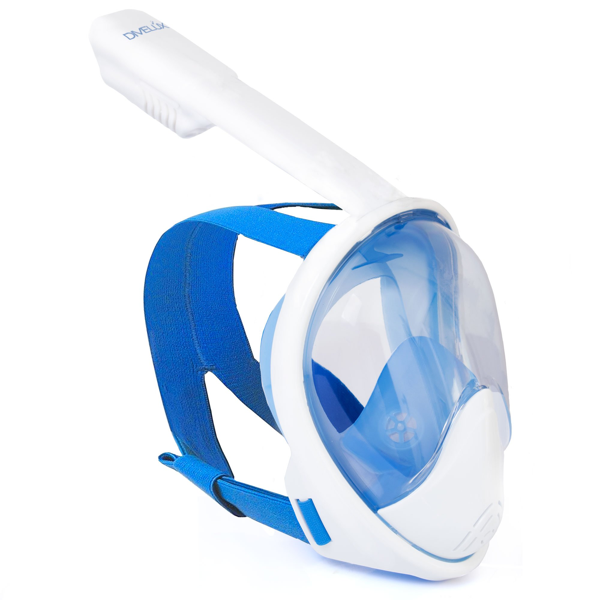DIVELUX Snorkel Mask - Original Full Face Snorkeling and Diving Mask with 180° Panoramic Viewing - Longer Ventilation Pipe, Watertight, Anti Fog & Anti Leak Technology, (Blue, S/M)