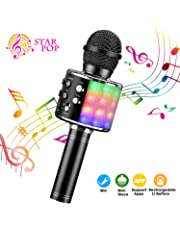 Wireless Karaoke Microphone, ShinePick 4 in 1 Bluetooth Dancing LED Lights Handheld Portable Speaker Karaoke Machine, Home KTV Player with Record Function, Compatible with Android & iOS Devices(Black)