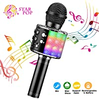 BlueFire Wireless 4 in 1 Bluetooth Karaoke Microphone with LED Lights, Portable Microphone for Kids, Best Gifts Toys for…
