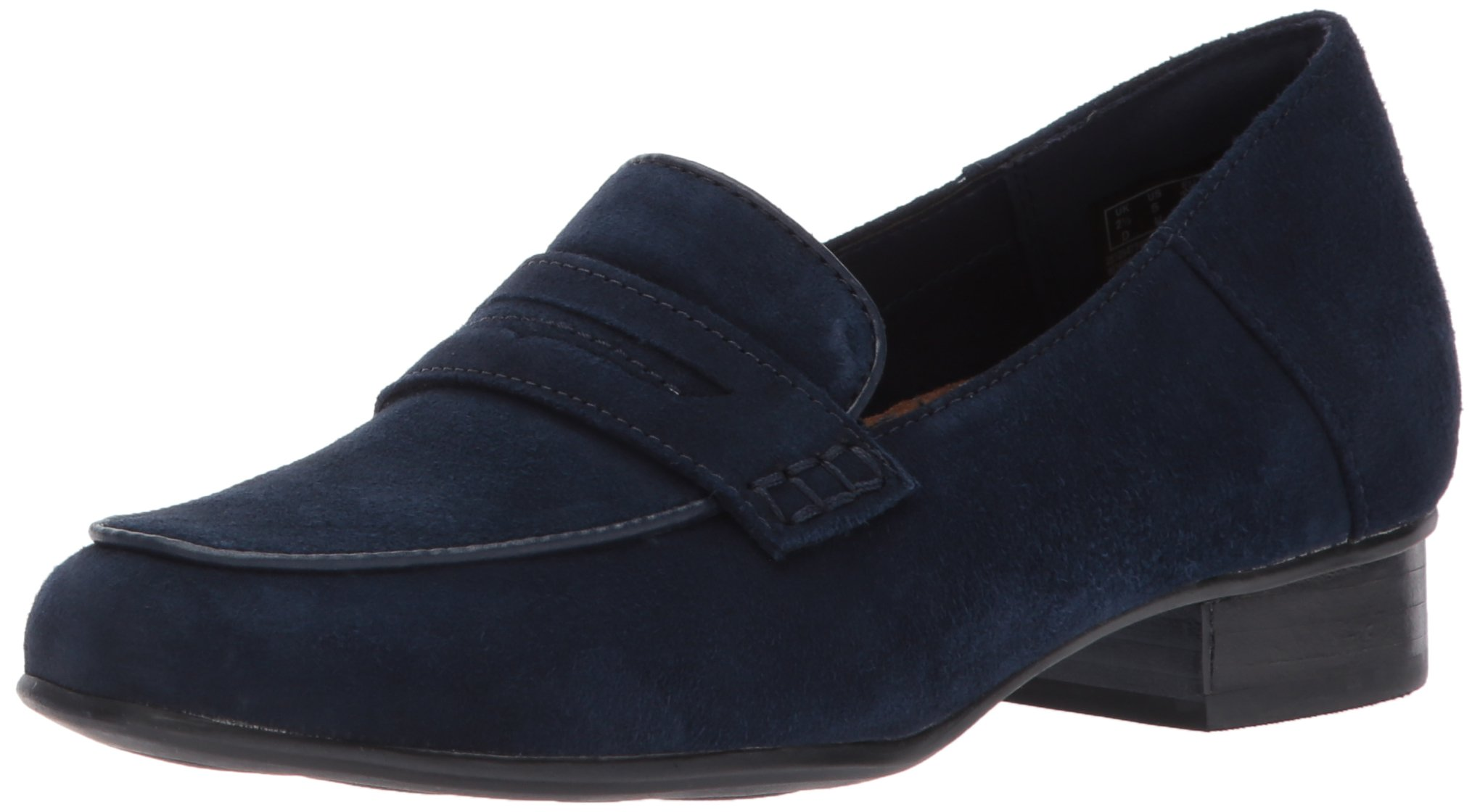 Clarks Women's Keesha Cora Penny Loafer, Navy Suede, 12 M US