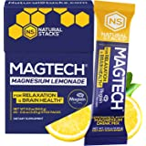 Natural Stacks MagTech Magnesium Drink Powder 20 Packets - 100% Chelated Magnesium Glycinate Magtein and Taurate - Lemonade M
