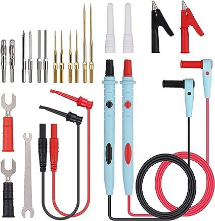 2x Multimetro Test elettrico gancio clip Grabber nero e rosso