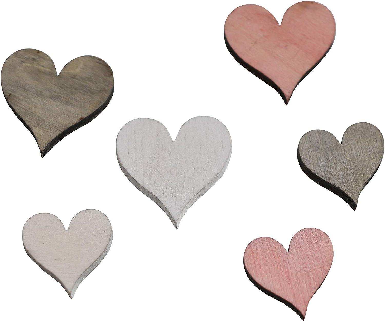 FD 48 STK Holzherzen rosa Altrosa wei/ß grau hellgrau 3 4cm Naturdeko Hochzeit Tischschmuck Streuteile Holz Herzen Holz Herz Dekoherzen Streuherzen Tischdekoration Tischkarten Streudeko Basteln