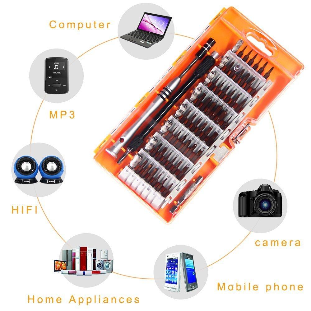 Orange 60 en 1 Tournevis de Pr/écision Kit de Tournevis avec 54 embouts magn/étiques portable Id/éal pour la r/éparation diPhone iPad tablette PC MacBook T/él/éphone portable Console de Jeux