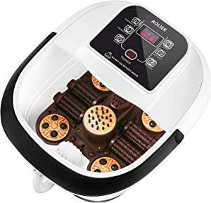 Devo AOLIER Foot Spa Bath Massager with Heat, Motorized Massage to Relieve Feet Muscle Pain, Red Light Therapy, Bubbles, Digital Temperature Control Portable Heated Foot Spa for Home Office (Black)