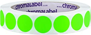 ChromaLabel 3/4 Inch Round Removable Color-Code Dot Stickers, 1000 per Roll, Fluorescent Green